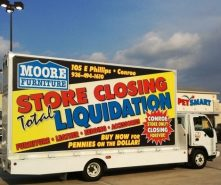 Moore Furniture advertised on an effective mobile billboard