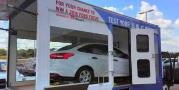 Advertising a Ford Focus in a display truck